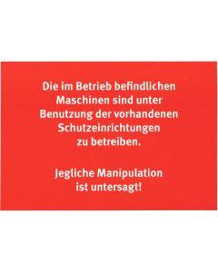 """Aufkleber """"Manipulation von Maschinen"""""""