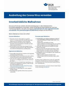 """Ausbreitung des Coronavirus vermeiden """"Betriebliche Maßnahmen"""""""