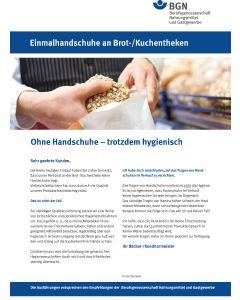 Kundeninformation: Einmalhandschuhe an Brot-/Kuchentheken