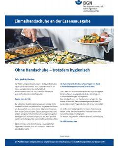 Kundeninformation: Einmalhandschuhe an der Essensausgabe