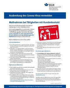 """Ausbreitung des Coronavirus vermeiden """"Maßnahmen bei Tätigkeiten mit Kundenkontakt"""""""