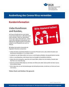 """Ausbreitung des Coronavirus vermeiden """"Kundeninformation"""""""