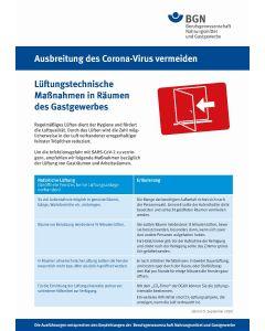 "Ausbreitung des Coronavirus vermeiden ""Lüftungstechnische Maßnahmen"" Gastgewerbe"