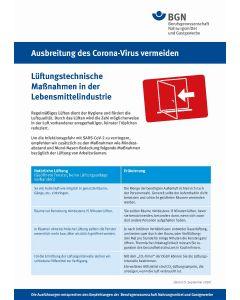 """Ausbreitung des Coronavirus vermeiden """"Lüftungstechnische Maßnahmen"""" Lebensmittelindustrie"""