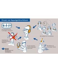 Unterweisungskarte Einsatz von Kapselgehörschützern / Einsatz von Otoplasten