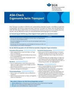 """ASA-Check """"Ergonomie beim Transport"""""""