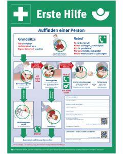 Anleitung zur Ersten Hilfe bei Unfällen Plakat