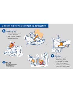 Plakat Umgang mit der Aufschnittschneidemaschine