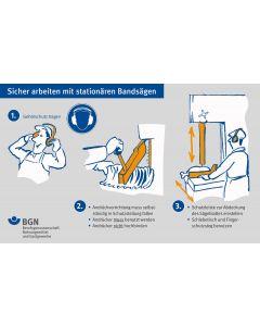 Plakat Sicher Arbeiten mit stätionären Bandsägen