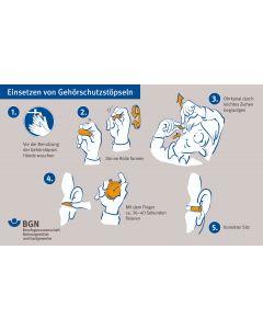 """Unterweisungskarte """"Einsetzen von Gehörschutzstöpseln / Umgang mit Gehörschutzstöpseln"""""""