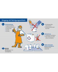 """Unterweisungskarte """"Umgang mit Reinigungsmitteln / Im Falle eines Falles: Erste Hilfe"""""""