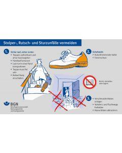 """Unterweisungskarte """"Stolper-, Rutsch- und Sturzunfälle vermeiden / Benutzung von Leitern"""""""