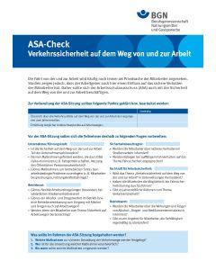 """ASA-Check """"Verkehrssicherheit auf dem Weg von und zur Arbeit"""""""